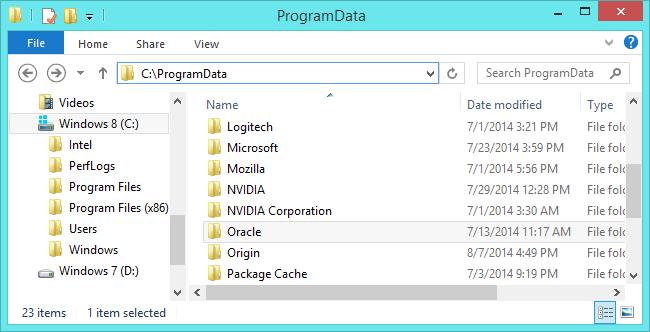 پوشهی ProgramData محل ذخیرهی تنظیمات نرمافزارها