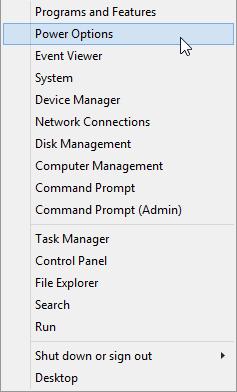 دسترسی سریع به پاور آپشن در ویندوز 8 و 8.1