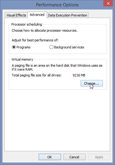 تنظیمات Page File در ویندوز