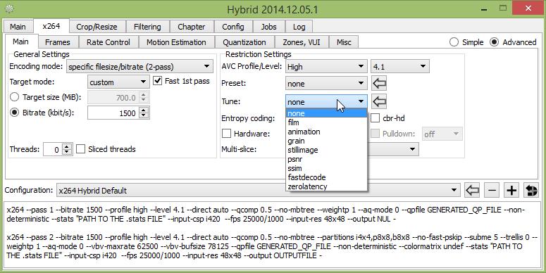 انتخاب نوع بهینهسازی کانورت با x264