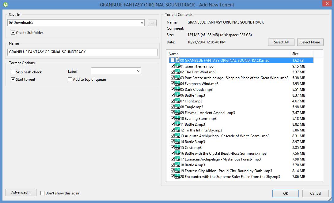 انتخاب محتوای یک فایل تورنت برای دانلود