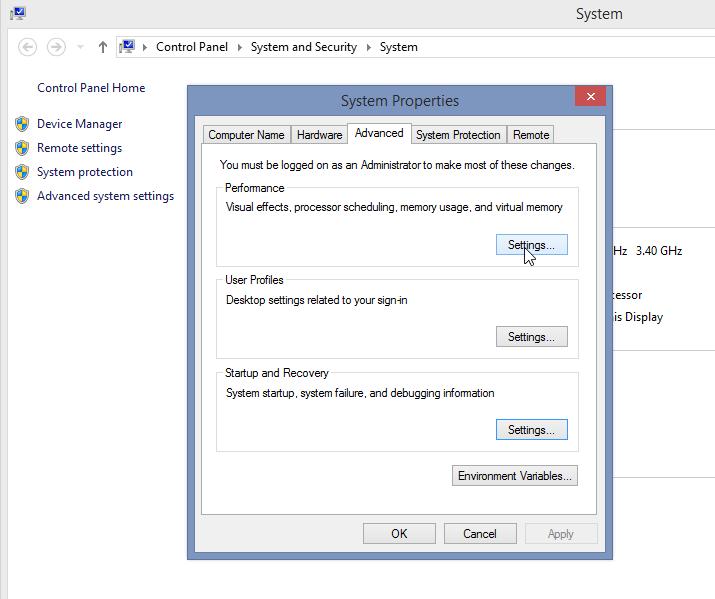 تنظیمات پیشرفتهی سیستم در ویندوز