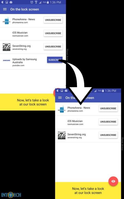 حذف فید سایتها از صفحهی قفل اندروید