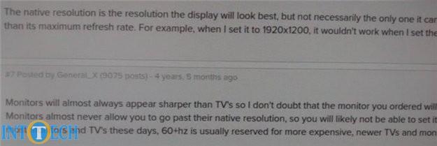 کیفیت ظاهری نمایشگری که با VGA متصل شده است.