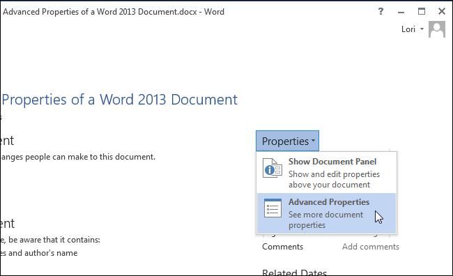 بخش Properties جهت تنظیمات مشخصات پرونده