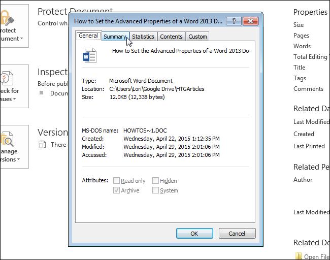 تب Summary جهت مشخصات دقیق فایل