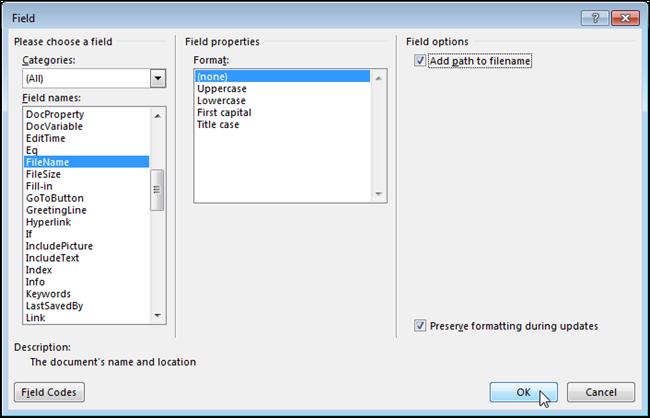 چگونه آدرس فایل ورد را در Header یا Footer صفحه نمایش دهیم؟