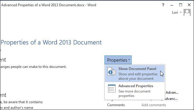 انتخاب Show Document Panel جهت نمایش حصوصیات در صفحهی ویرایش متن