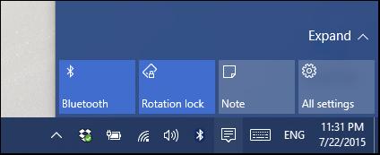 اکشن سنتر با تنظیمات اصلی در ویندوز 10
