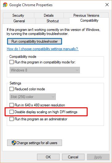 غیرفعال کردن ارتقای کیفیت متن در نمایشگرهای رزولوشن بالا، ویندوز 10
