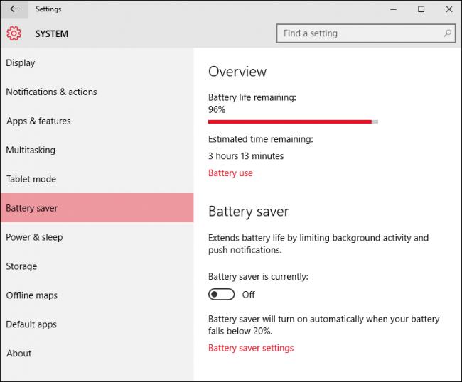 حالت حفظ باتری در ویندوز 10