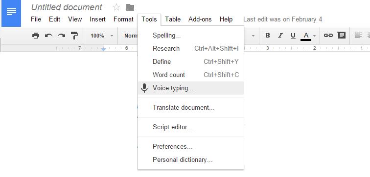 تایپ صوتی توسط گوگل داکس